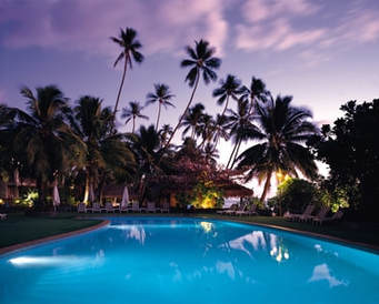 Photo of beautiful pool taken in the evening with pool lights and a palm trees in the background.  The sky is purple, the trees are dark and the pool is bright and beautiful.